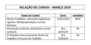 CURSOS MARÇO DE 2019