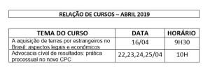 AGENDA DE CURSOS TELE PRESENCIAIS ABRIL 2019